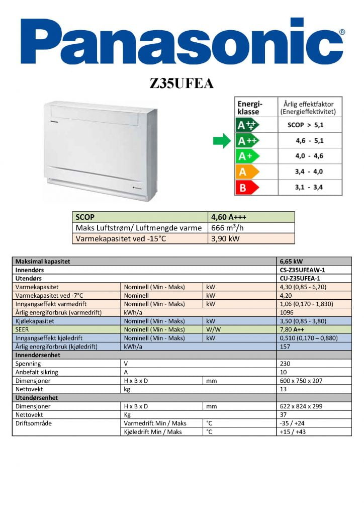 Panasonic Z35UFEA Gulvmodell - Keli AS